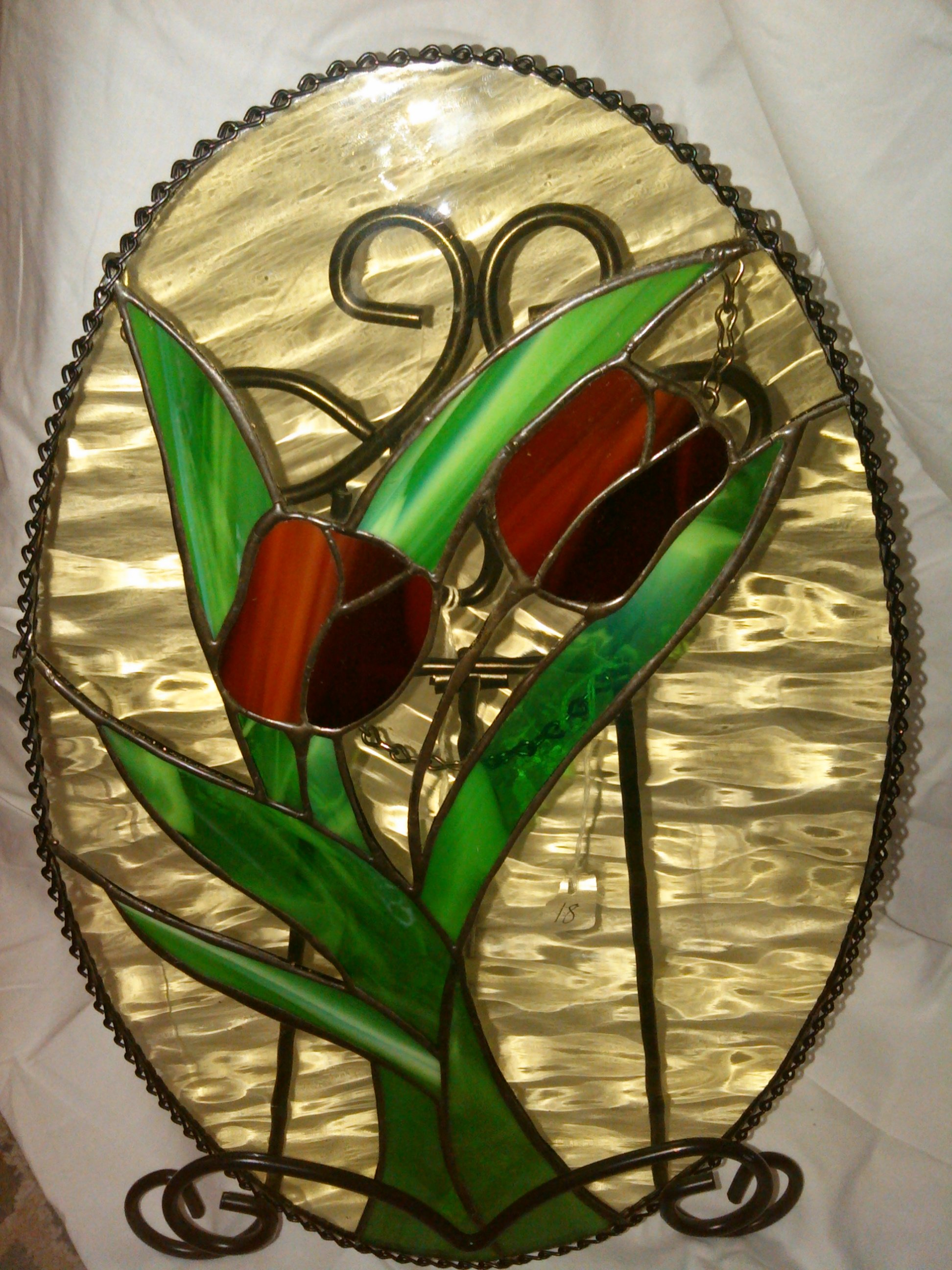 Stained glass tulip with stand
