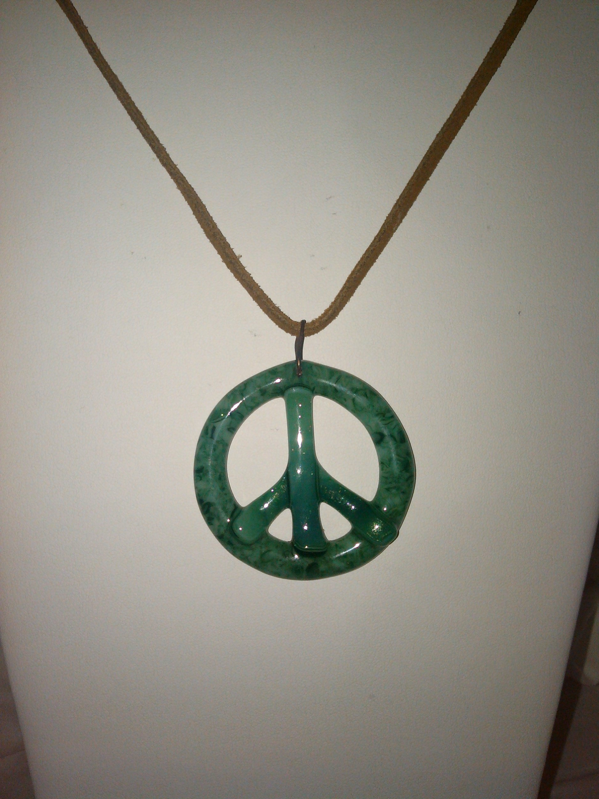 Green Glass Peace Pendant